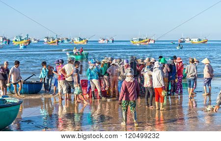 Fish market scene in the morning session seas