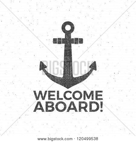 Nautical Design. Sailor vector emblem. Anchor label and print design with anchor symbol, typography