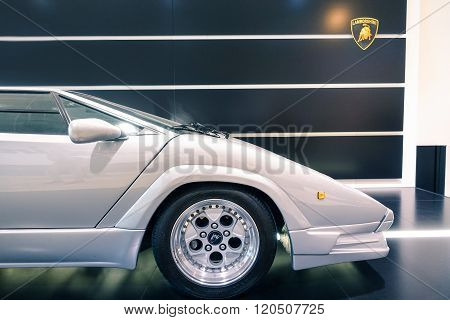Bologna , Italy - January 10 , 2016: Sport Luxury Car Lamborghini Countach Side View