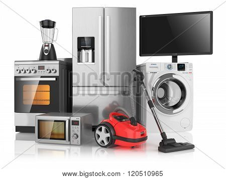 Set Of Household Kitchen Appliances, Isolated On White Background 3D