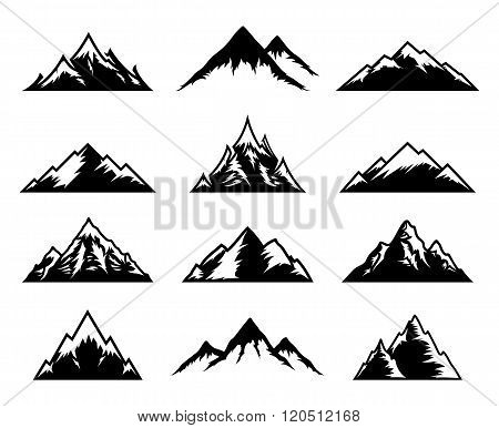 Vector Mountains Icons Isolated On White