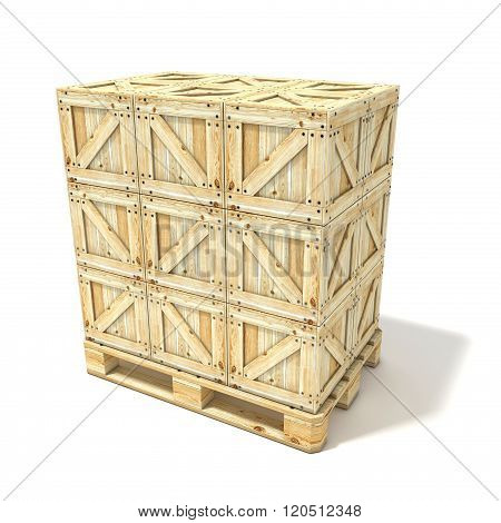 Wooden boxes on euro pallet. 3D