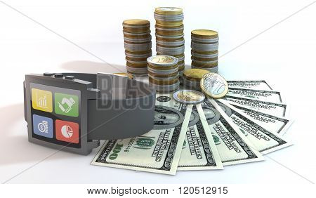 3D Smart Watch About Money With 100 Dollar Bill