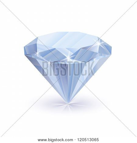 Dazzling shiny diamond on white