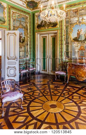 Queluz, Portugal - September 16, 2015: Queen's Dressing Room (Sala do Toucador da Rainha) in Queluz National Palace, Portugal. Formerly used as the Summer residence by the Portuguese royal family.