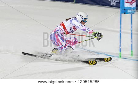 STOCKHOLM SWEDEN - FEB 23 2016: Closeup of Nastasia Noens (FRA) skiing at the FIS Alpine Ski World Cup - Men's and Woman's city event February 23 2016 Stockholm Sweden