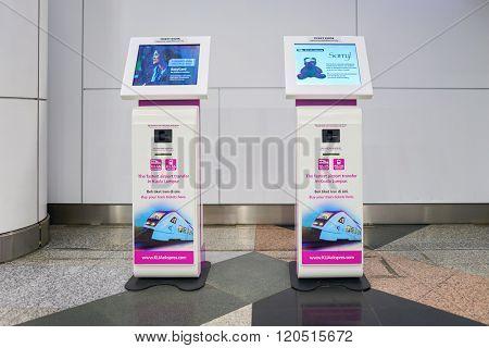 KUALA LUMPUR-MAY 06, 2016: interior of Kuala Lumpur International Airport (KLIA) - Malaysia's main international airport and one of the major airports of South East Asia