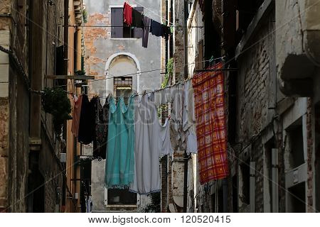 Italian Street With Clothes