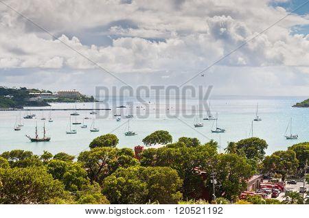 Sailboats At Charlotte Amalie Harbor - St. Thomas, Us Virgin Islands