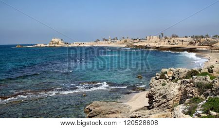 Panorama National Archaeological Park Caesarea, Israel