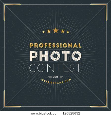 Photography Logo Design Template. Photography Retro Golden Badge. Professional Photo Contest