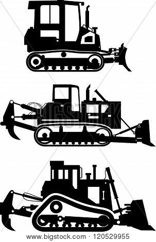 Set of different silhouettes dozers isolated on white background. Heavy construction and mining mach