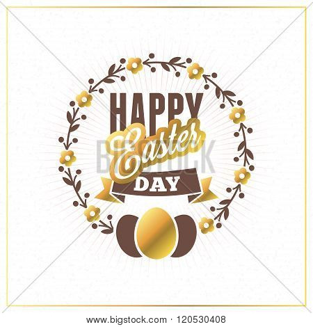Happy Easter. Vector Vintage Holiday Golden Badge. Template For Greeting Card. Golden And Brown Colo