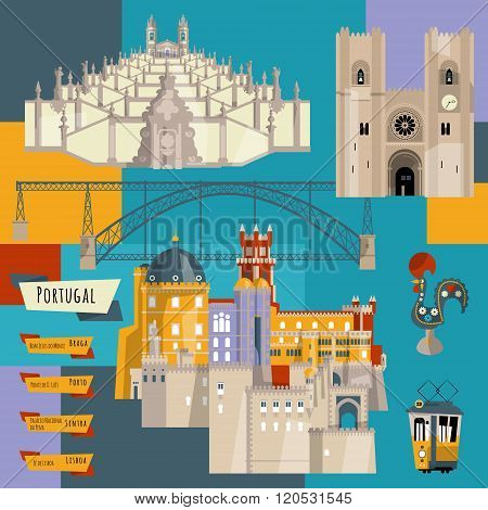 Sights of Portugal. Lisbon Porto Sintra Braga. Europe. Vector illustration poster