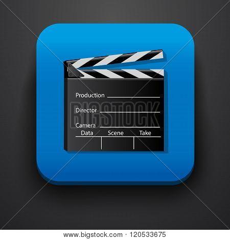 Media film symbol icon on blue
