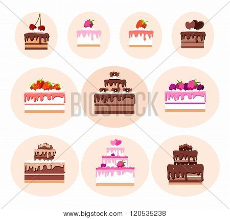 Cakes, Colored Icons, Vector ...