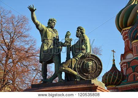 Dmitry Pozharsky And Kuzma Minin Monument On Red Square Near Cathedral Of Vasily  Blessed