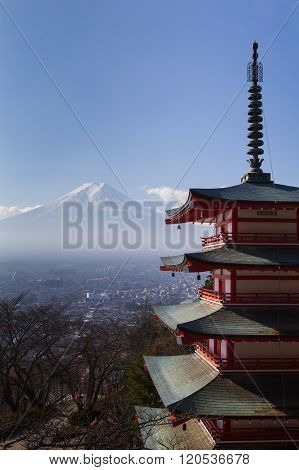 Mt. Fuji with red Chureito Pagoda in dry winter
