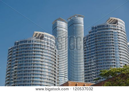 gorgeous view of modern stylish condo buildings in downtown Toronto