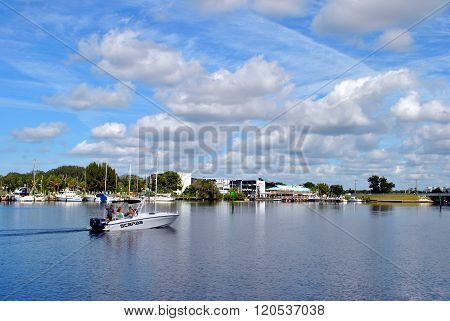 Tourists fishing from a boat in Tarpon Springs Florida