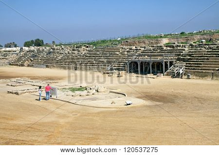 Ancient Hippodrome In The National Archaeological Park Caesarea, Israel
