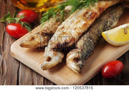 Traditional Russian Cooked Fish Smelt