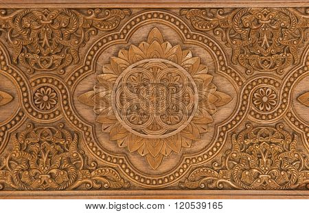 Details of a fine wood carving art. An Islamic art and craft.