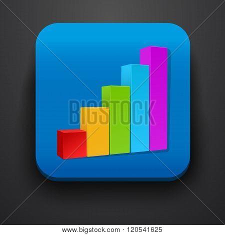 Growth stock symbol icon on blue