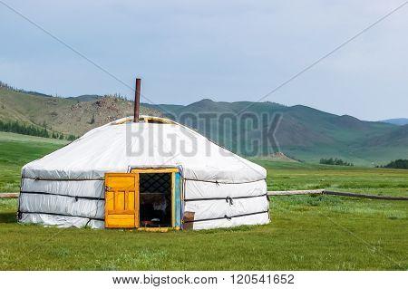 Mongolian Yurt On Steppe