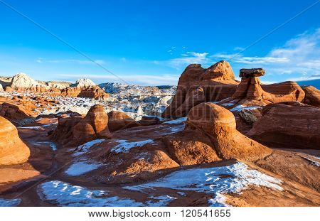 USA, Utah, marbled sandstone formations in the Paria Canyon.
