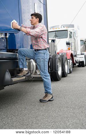 Man boarding truck