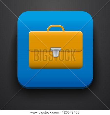 Portfolio symbol icon on blue
