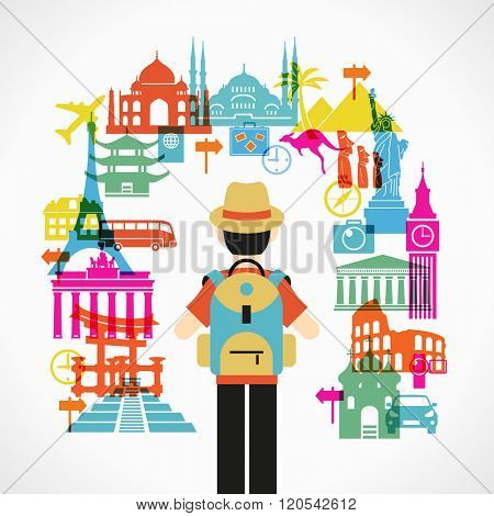 Travel and tourism background. Colorful template with traveler and icons, tourism landmarks. Illustration of flat design travel composition with famous world landmarks. File saved in 10 EPS version.