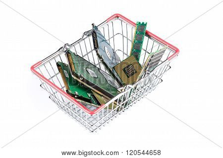 Shopping Trolley Filled With Computer Stuff