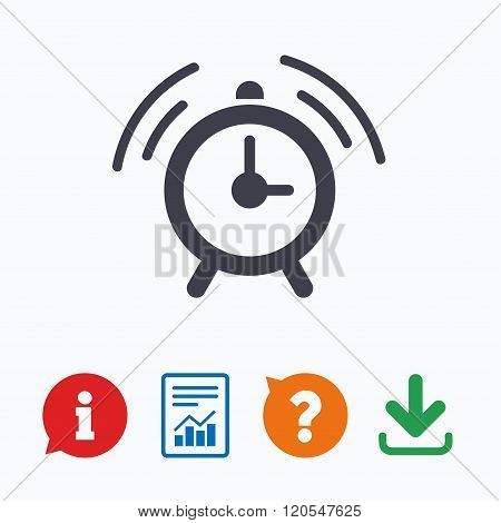 Alarm clock sign icon. Wake up alarm symbol. Information think bubble, question mark, download and report. poster