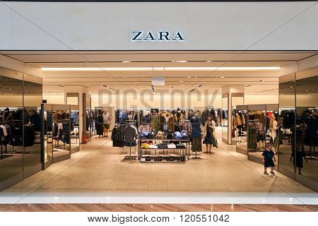 SINGAPORE - NOVEMBER 08, 2015: interior of Zara store. Zara is a Spanish clothing and accessories retailer based in Arteixo, Galicia, and founded in 1975 by Amancio Ortega and Rosalia Mera