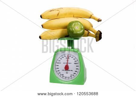 weighing bananas on the scale