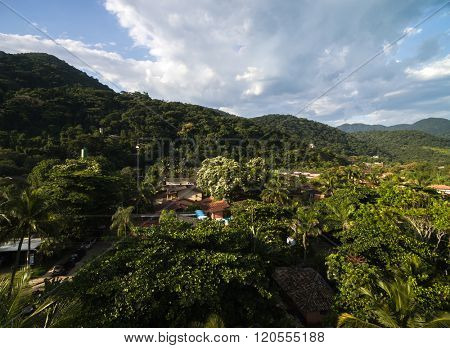 Aerial view of Sao Sebastiao hills in Brazil