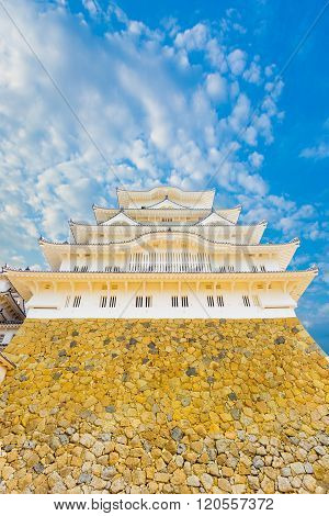 Himeji Jo Castle Stronghold Base Against Blue Sky