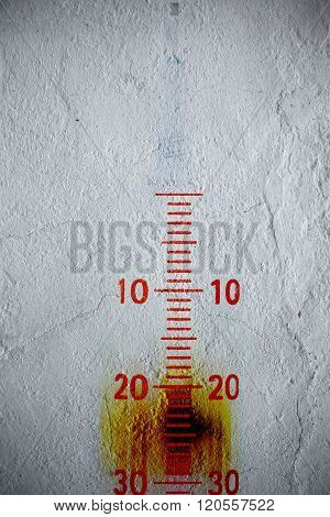 Measuring Scale On The Textured Wall