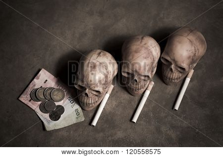 Top View Of Skulls And Cigarette And Money