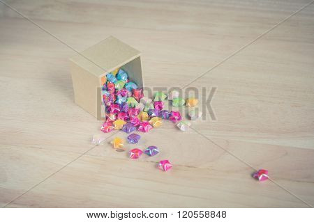 Colorful Of Paper Fold Christmas Stars