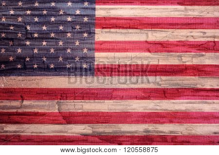 American flag painted on old wood background, collage