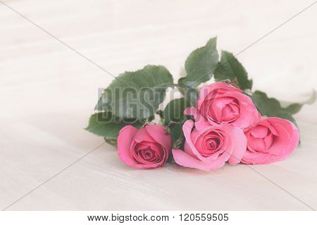 Pink Roses In Valentine Day, Romantic Background (vintage Effect)