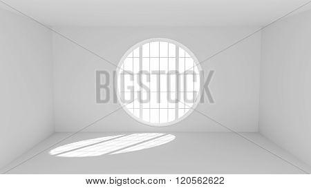 Empty White Room With Big Round Window