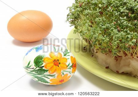Painted And Fresh Easter Egg With Green Watercress. White Background