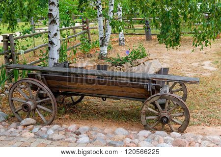 Old Wooden Cart In A Rural Location
