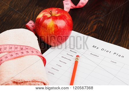 Diet Plan, Apple And Towel, Wooden Background