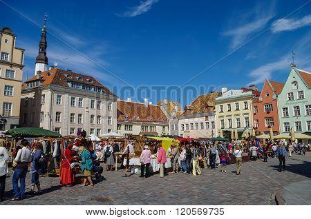 Summer Hand Craft Market On Town Hall Square (raekoja Plats) In Old Town Tallinn.