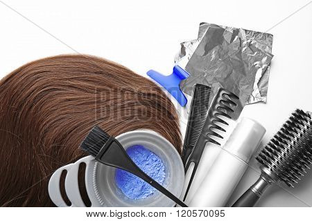 Barber set with strand, tools and hair dye, isolated on white